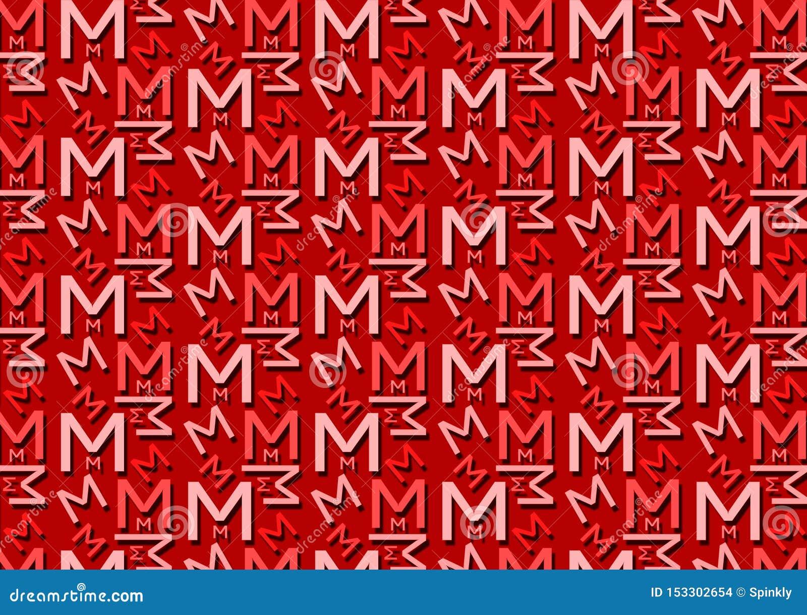 Brievenm patroon in verschillende gekleurde rode schaduwen voor behang