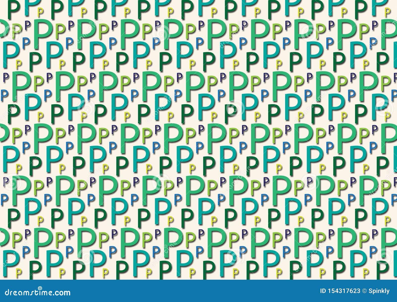 Brievenp patroon in verschillende gekleurde blauwgroene schaduwen