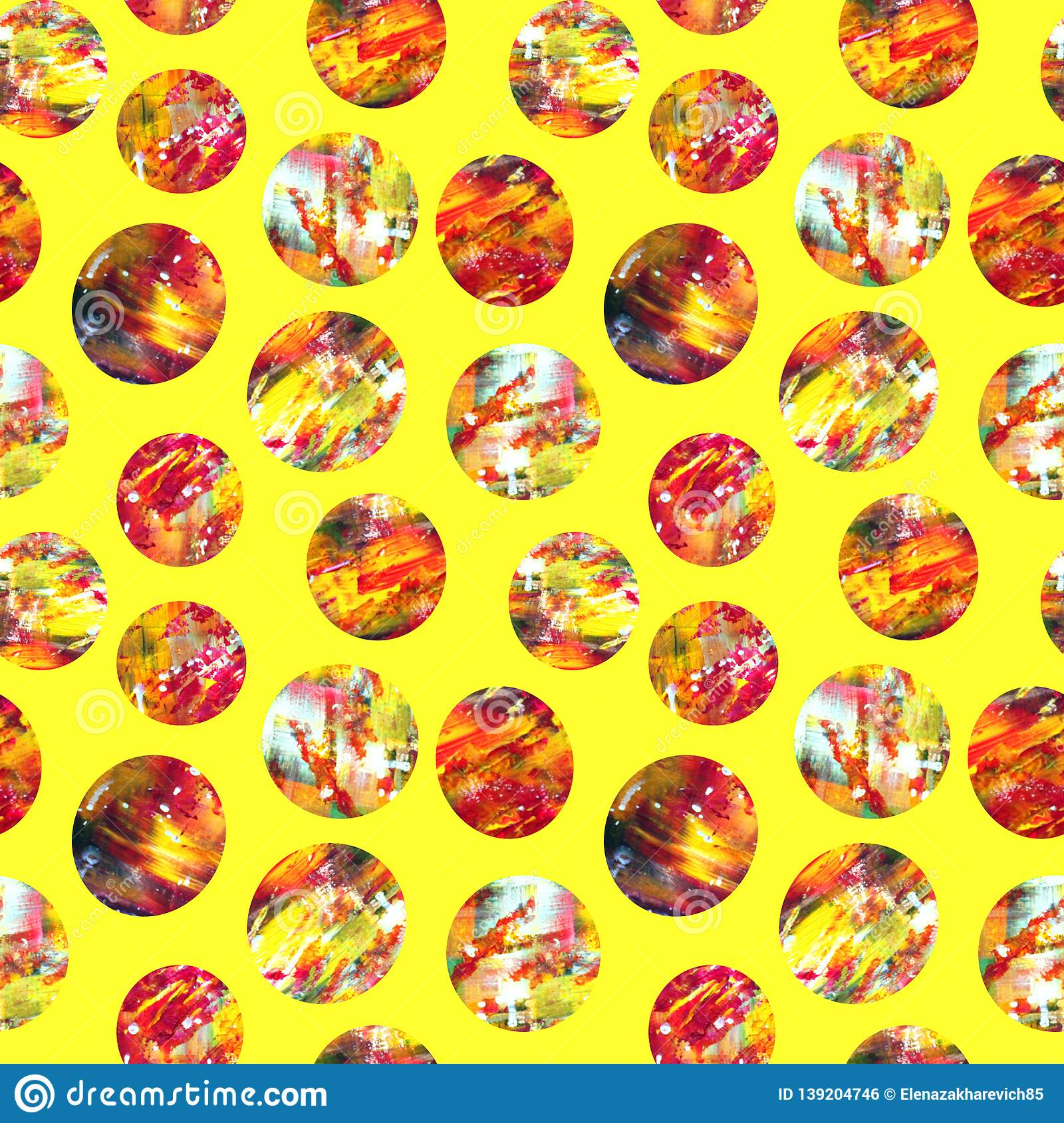Bright abstract acrylic circles on a yellow background