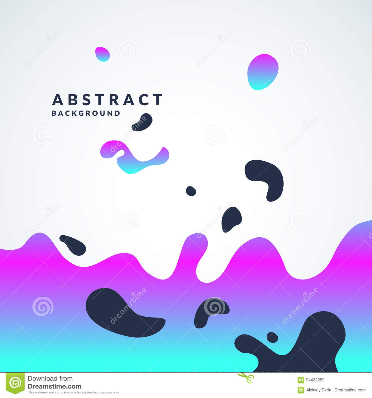 Bright abstract vector background with a dynamic waves and splashes. Poster with gradient