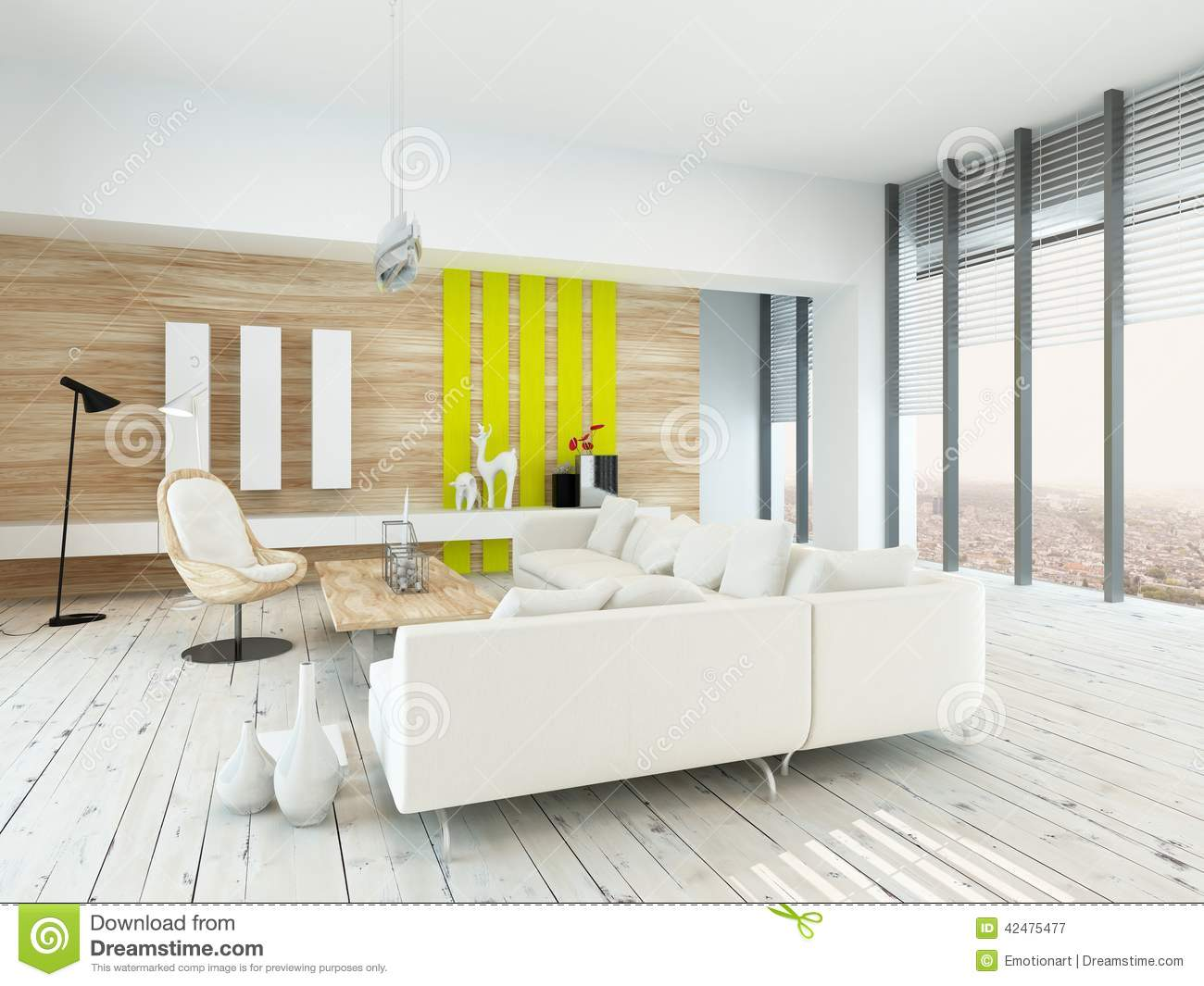 Bright Airy Living Room With Rustic Decor Stock