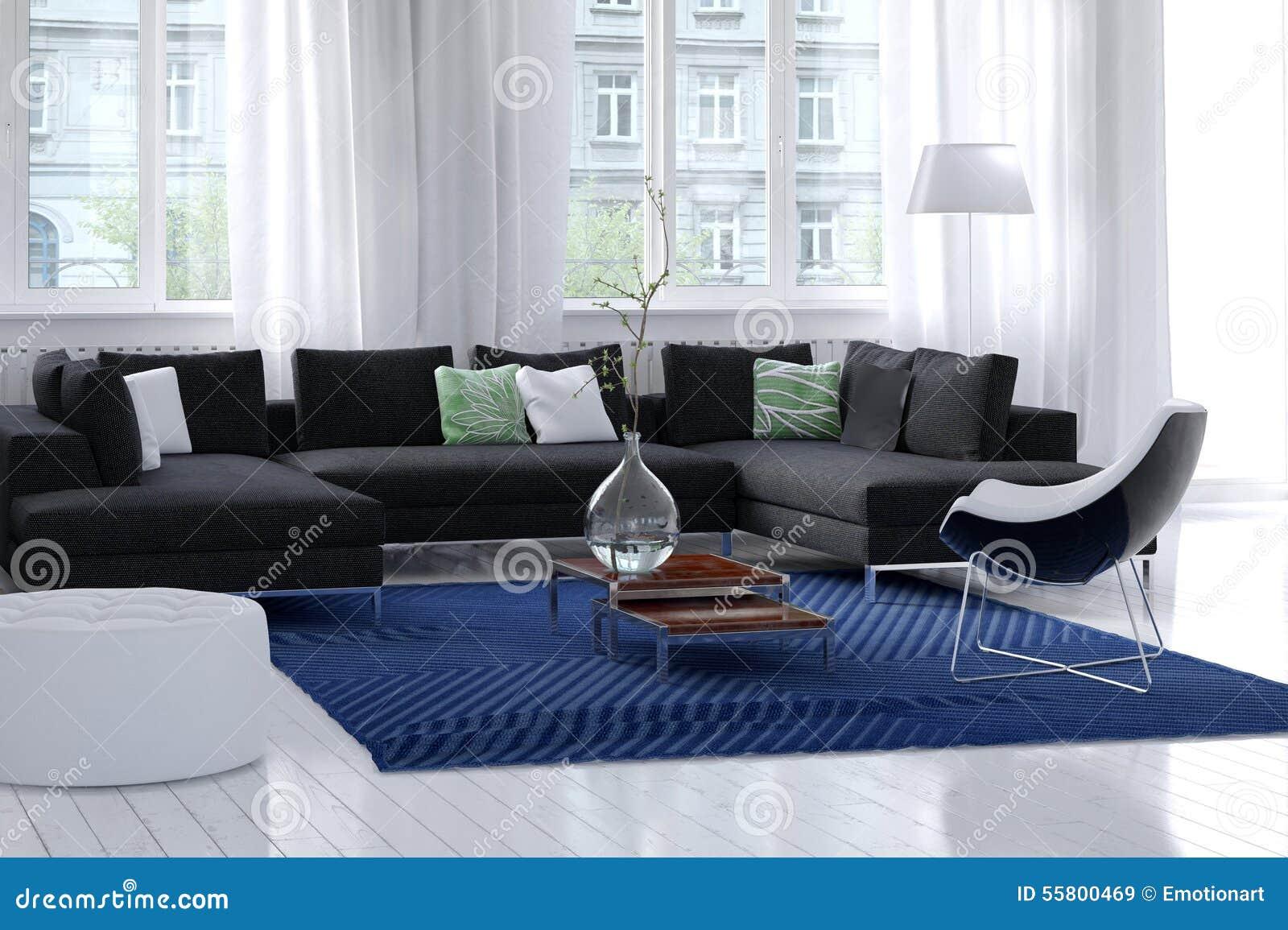 Bright airy modern living room interior