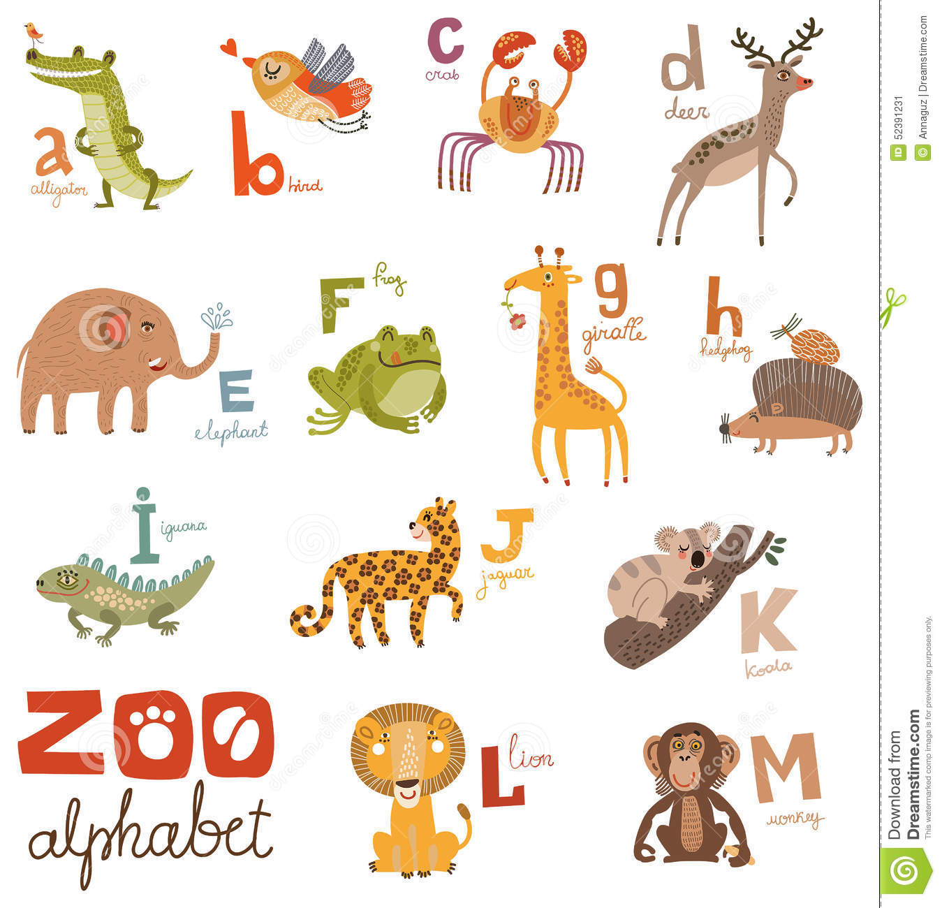 3 letter animals alphabet amp animals part3 vector illustration 25786
