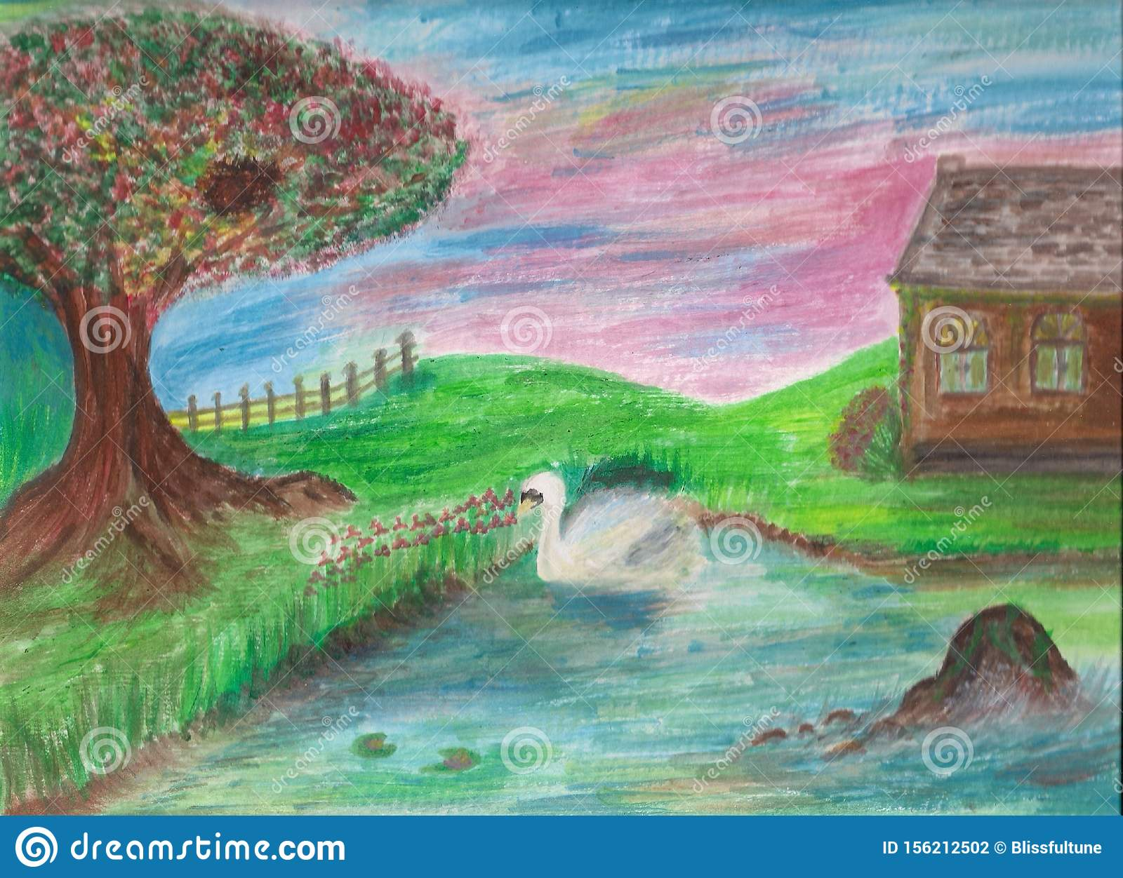 Bright Attractive Colorful Nature Art Illustration With A Swan In A Pond Stock Illustration Illustration Of Floral Colorful 156212502
