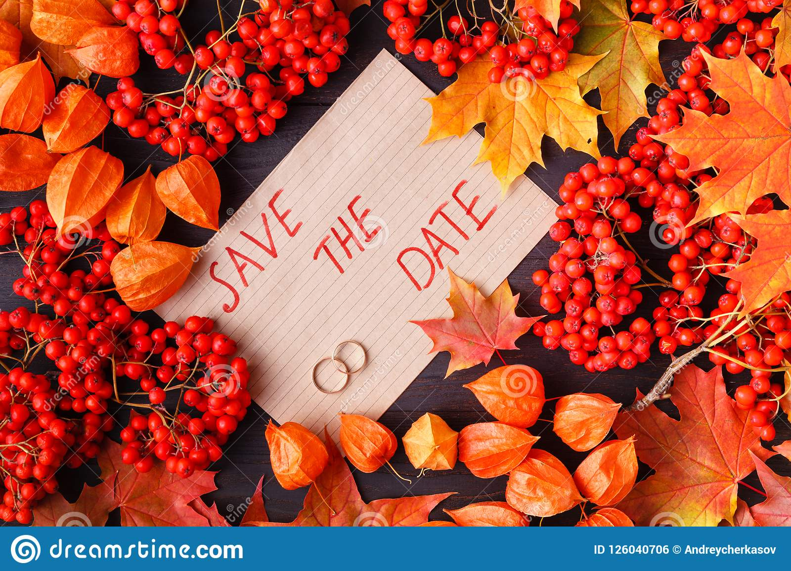 bright autumn leaves for wedding invitation or save the date