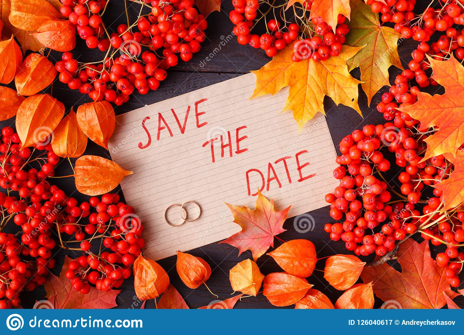 Bright Autumn Leaves For Wedding Invitation Or Save The Date ...
