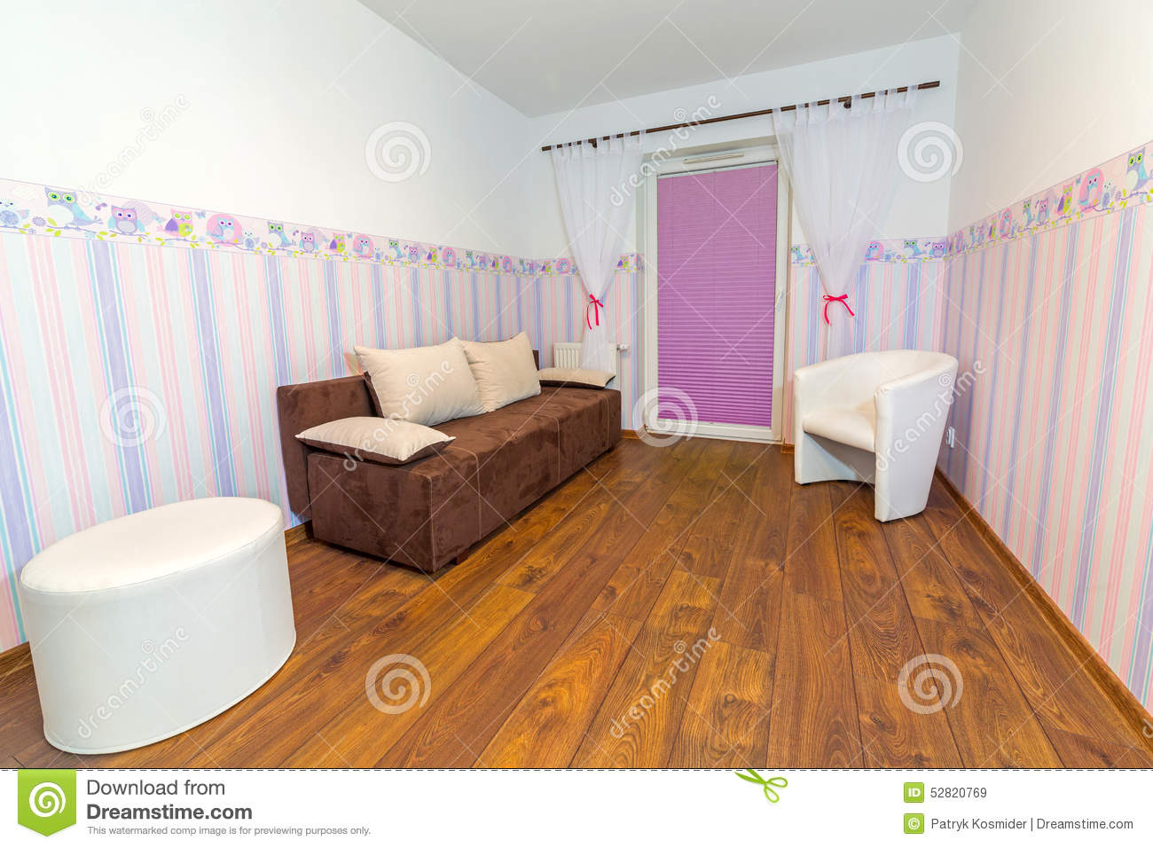 Bright Baby Room With Wallpaper Stock Photo Image 52820769