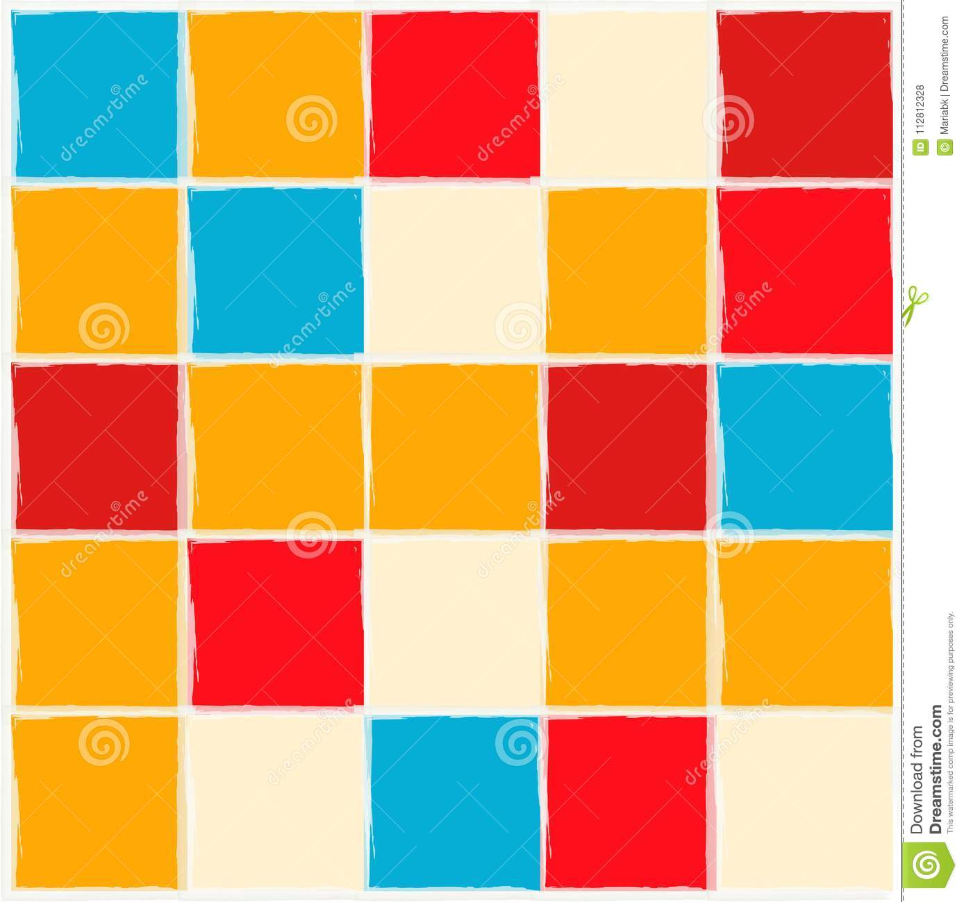 Bright Background. Kitchen Brick Wall. Red, White, Orange And Blue ...