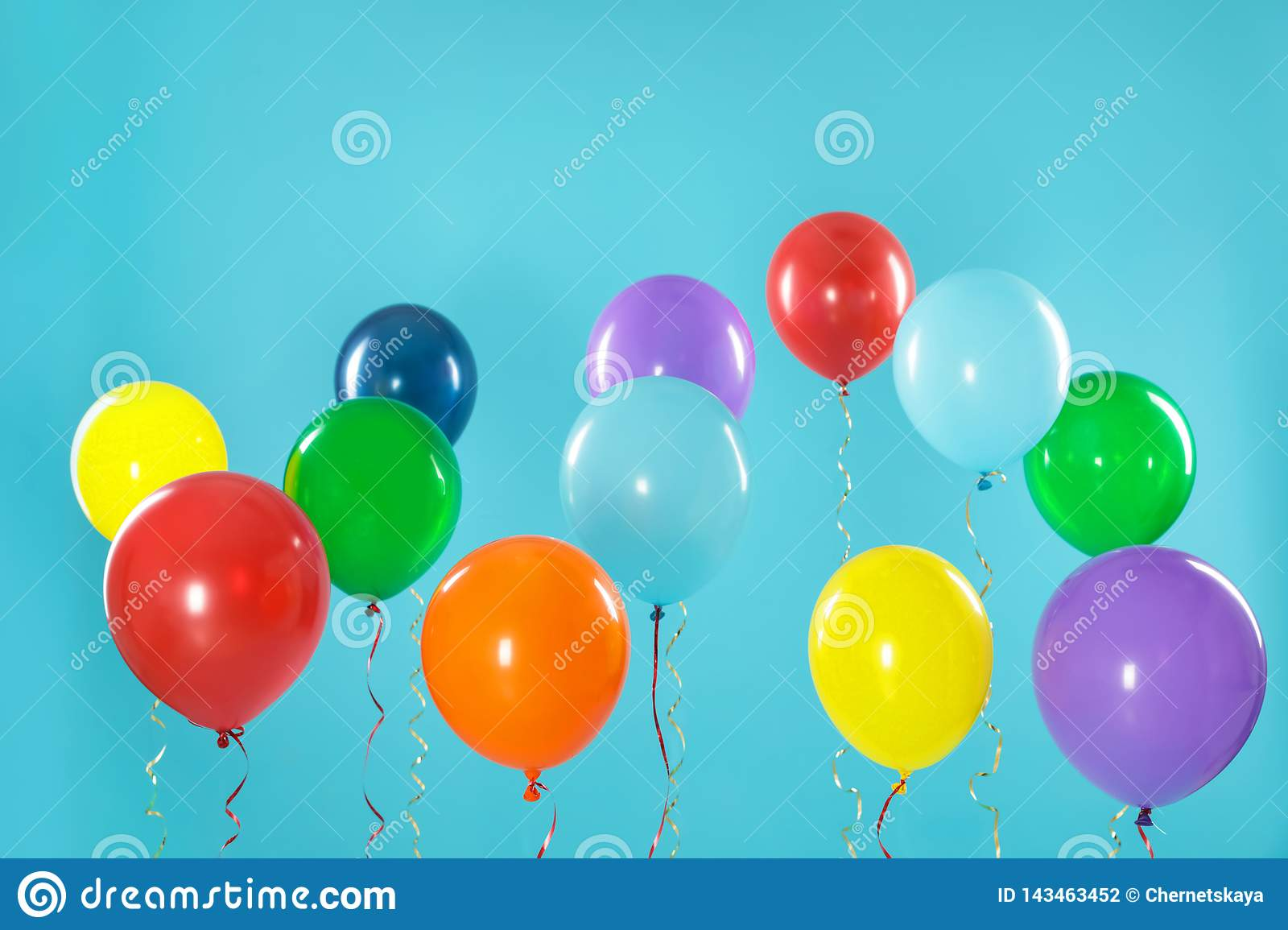 Bright balloons on background. Celebration time