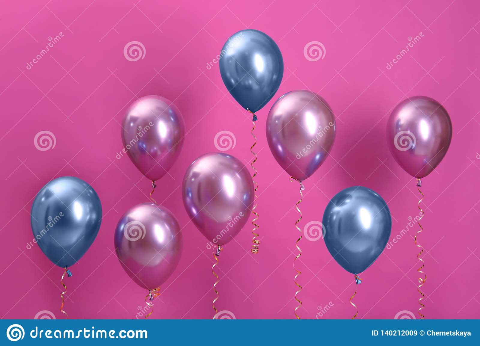 Bright balloons with ribbons