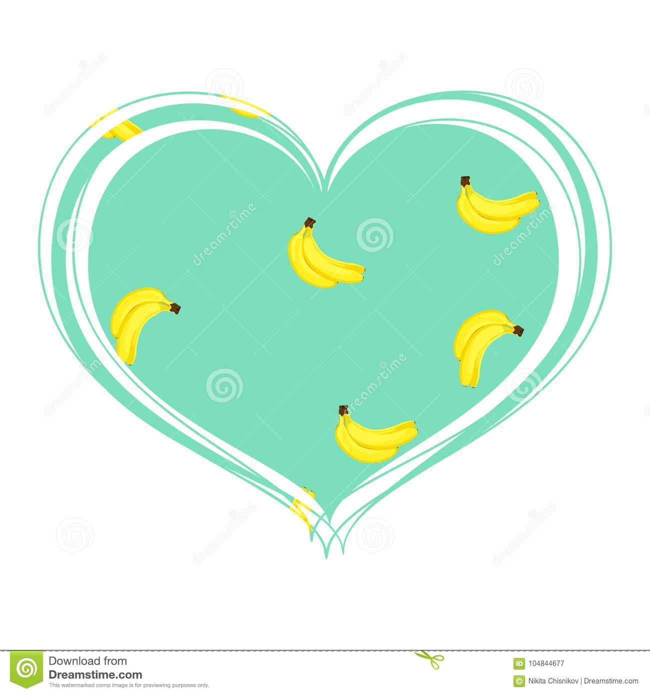 Appetizing Bananas In The Heart Stock Vector Illustration Of
