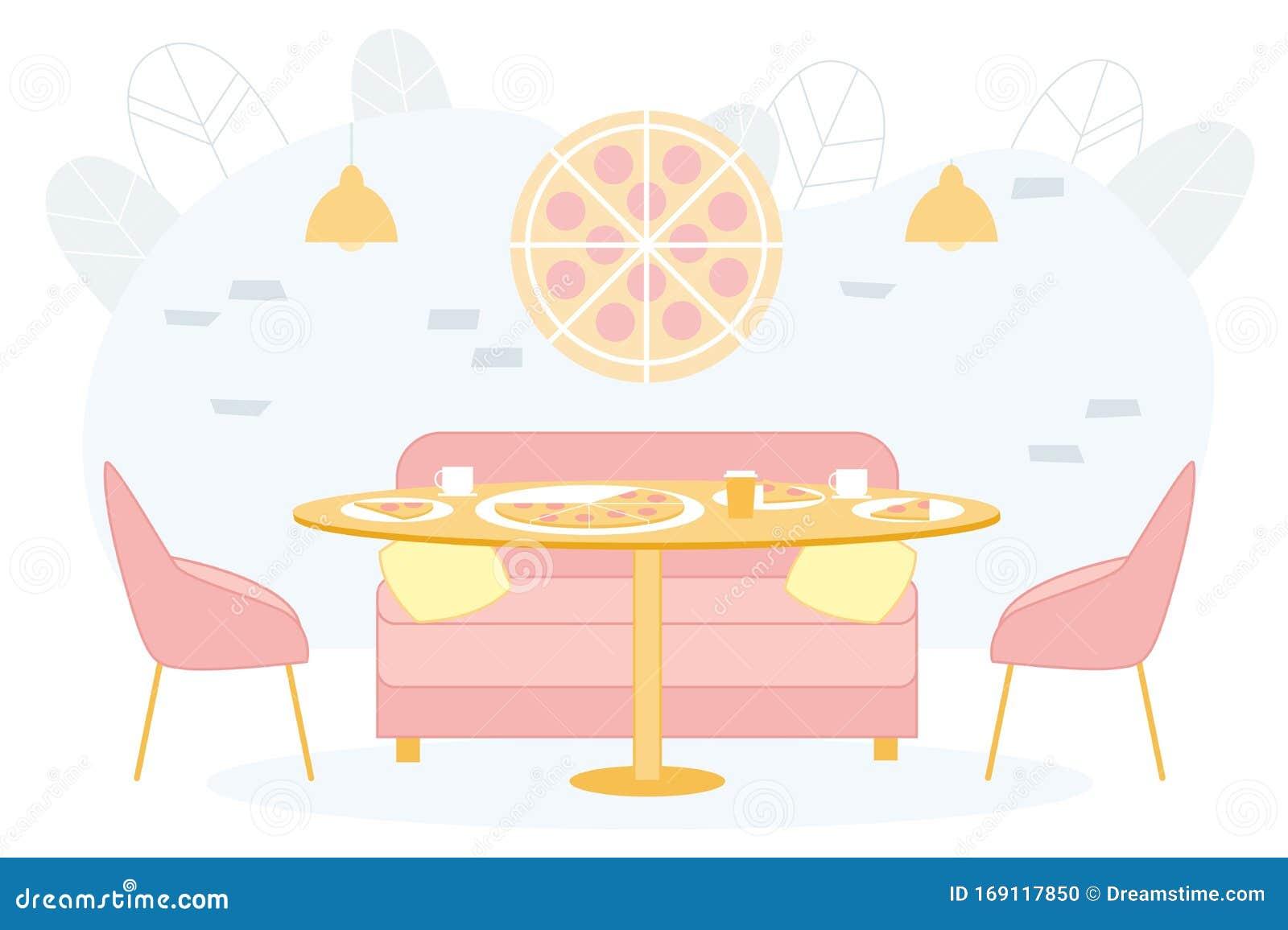 Bright Banner Trendy Pizzeria Interior Cartoon Stock Illustration Illustration Of Architecture Concept 169117850