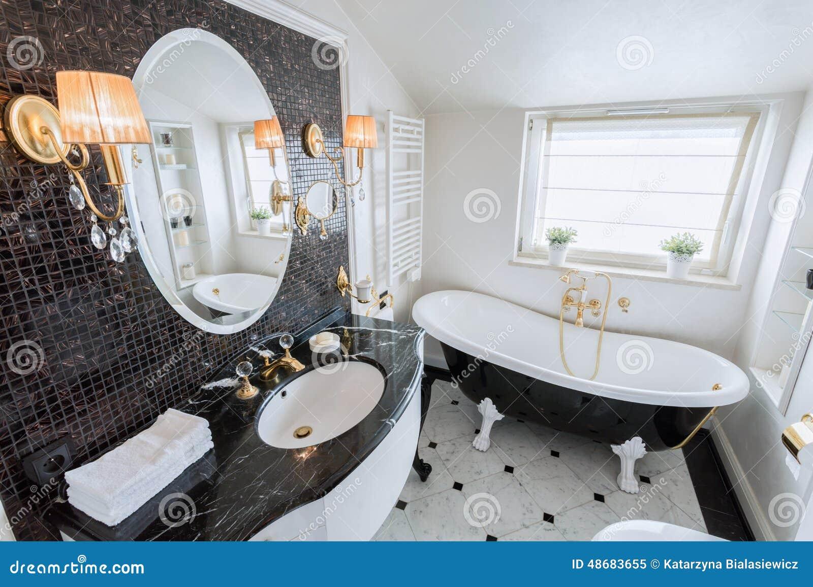 Bright bathroom in baroque style stock photo image 48683655 for Baroque style bathroom