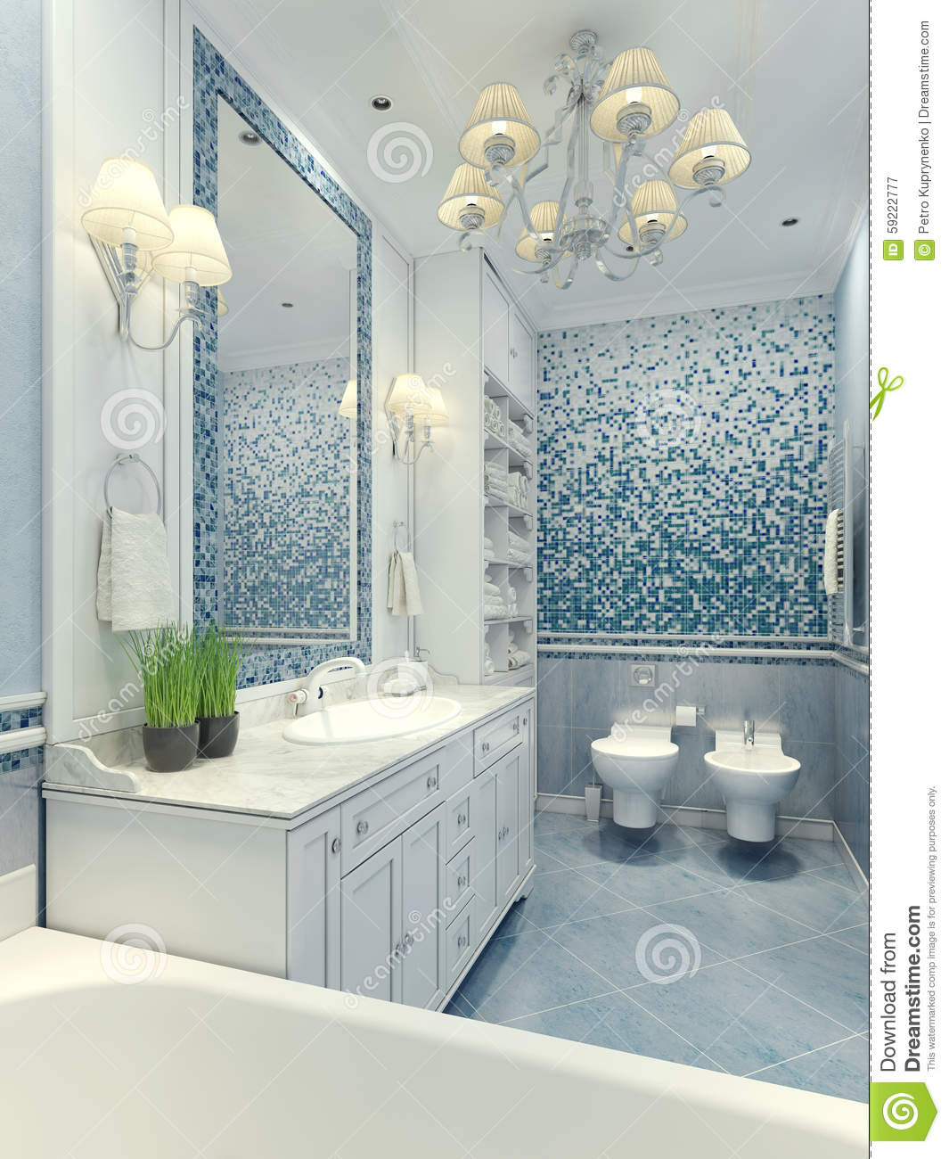 Bright Bathroom Classic Style Stock Photo