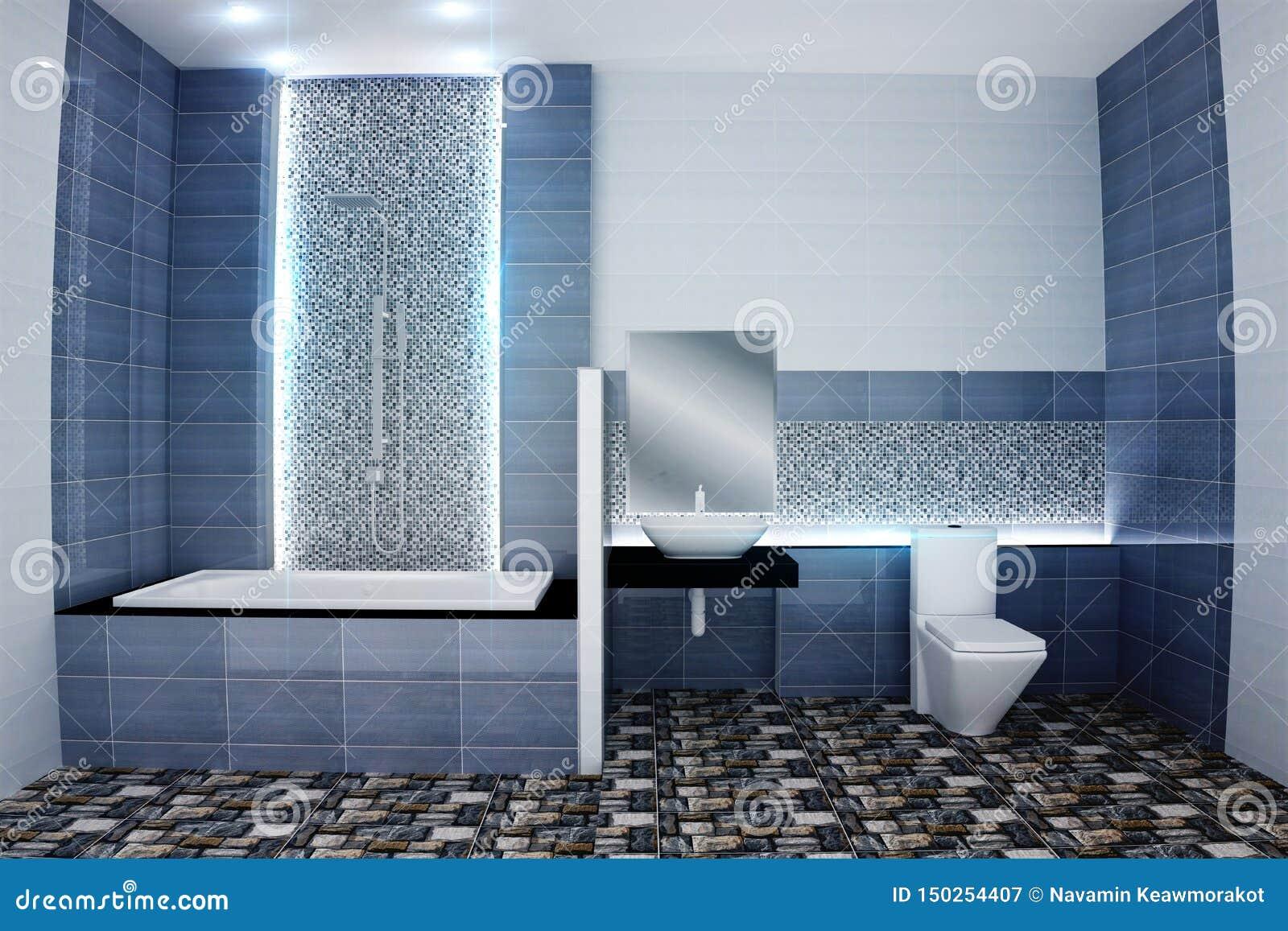 Bright Bathroom Design Tiles Blue Modern Style. 3D Rendering ...