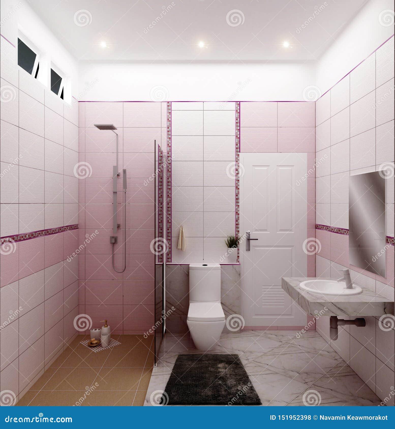 Bright Bathroom Design Tiles Pink Modern Style. 3D Rendering ...