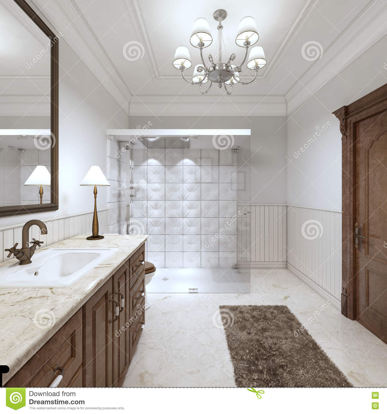 Bright Bathroom In The English Style With Large Glass Shower. Stock ...