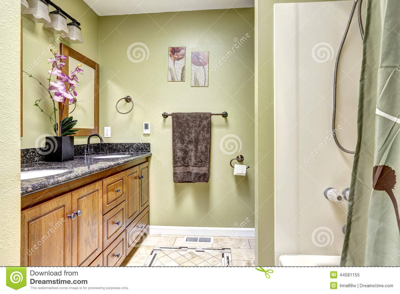 Bright bathroom in light green tone  Wooden cabinet with granite. Bright Bathroom In Light Green Tone  Wooden Cabinet With Granite
