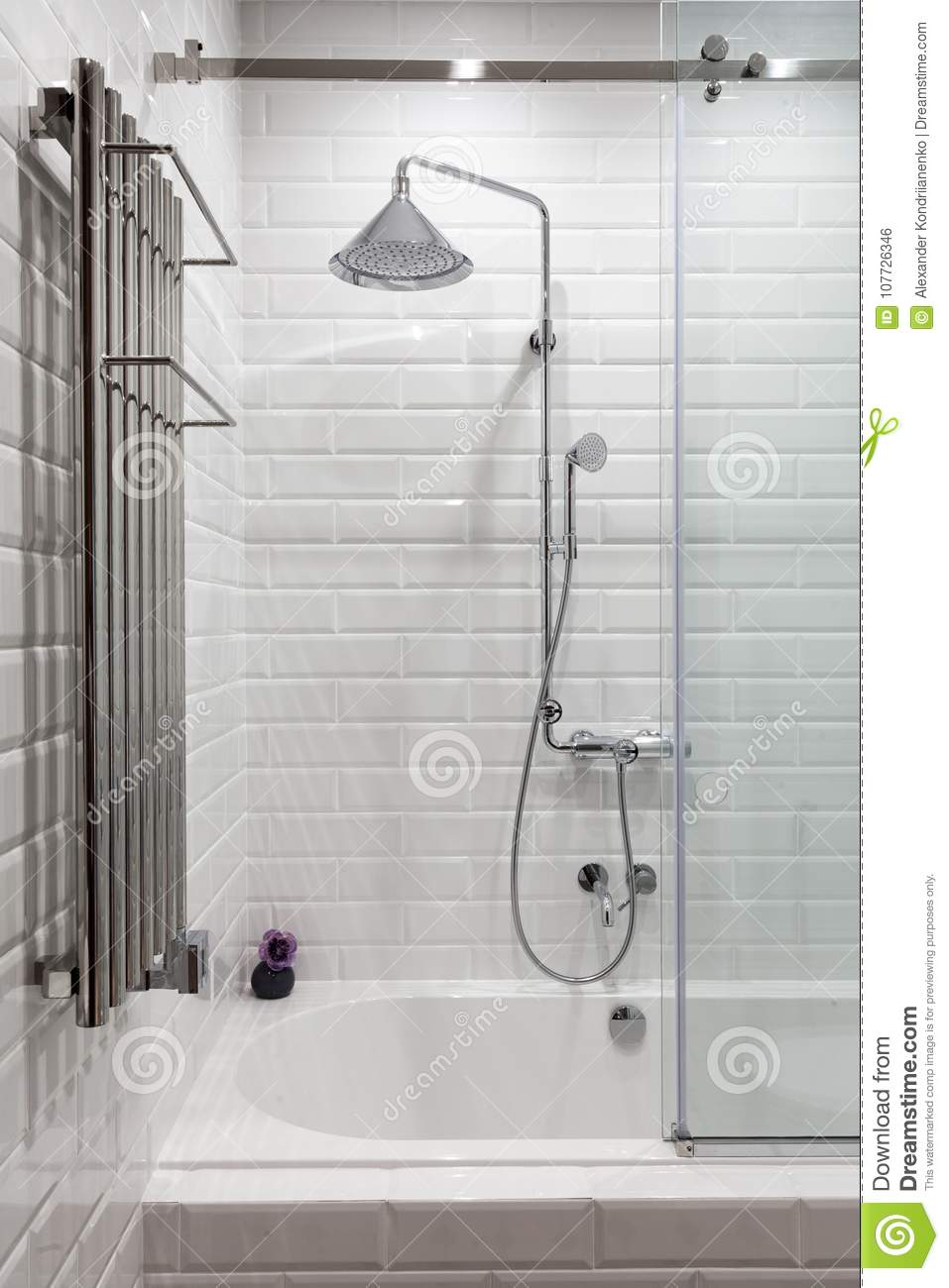 Bright Bathroom With New Tiles. Chrome Shower, Faucet, White ...
