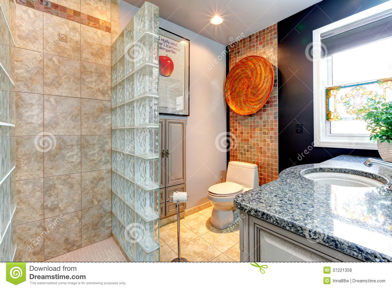 Bright bathroom with open shower royalty free stock photos Opening glass walls
