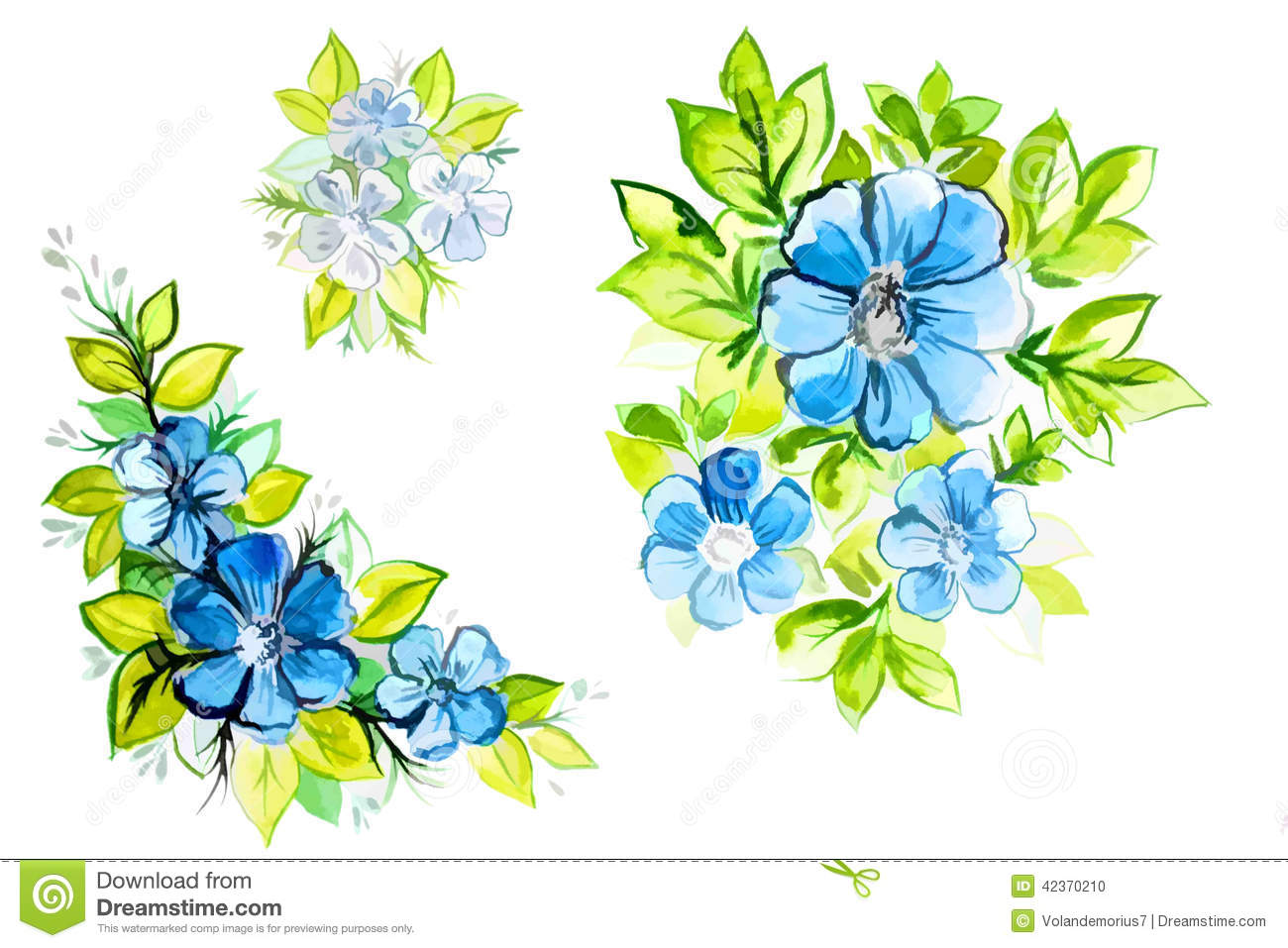 Bright Beautiful Blue Flowers With Leaves Stock Illustration