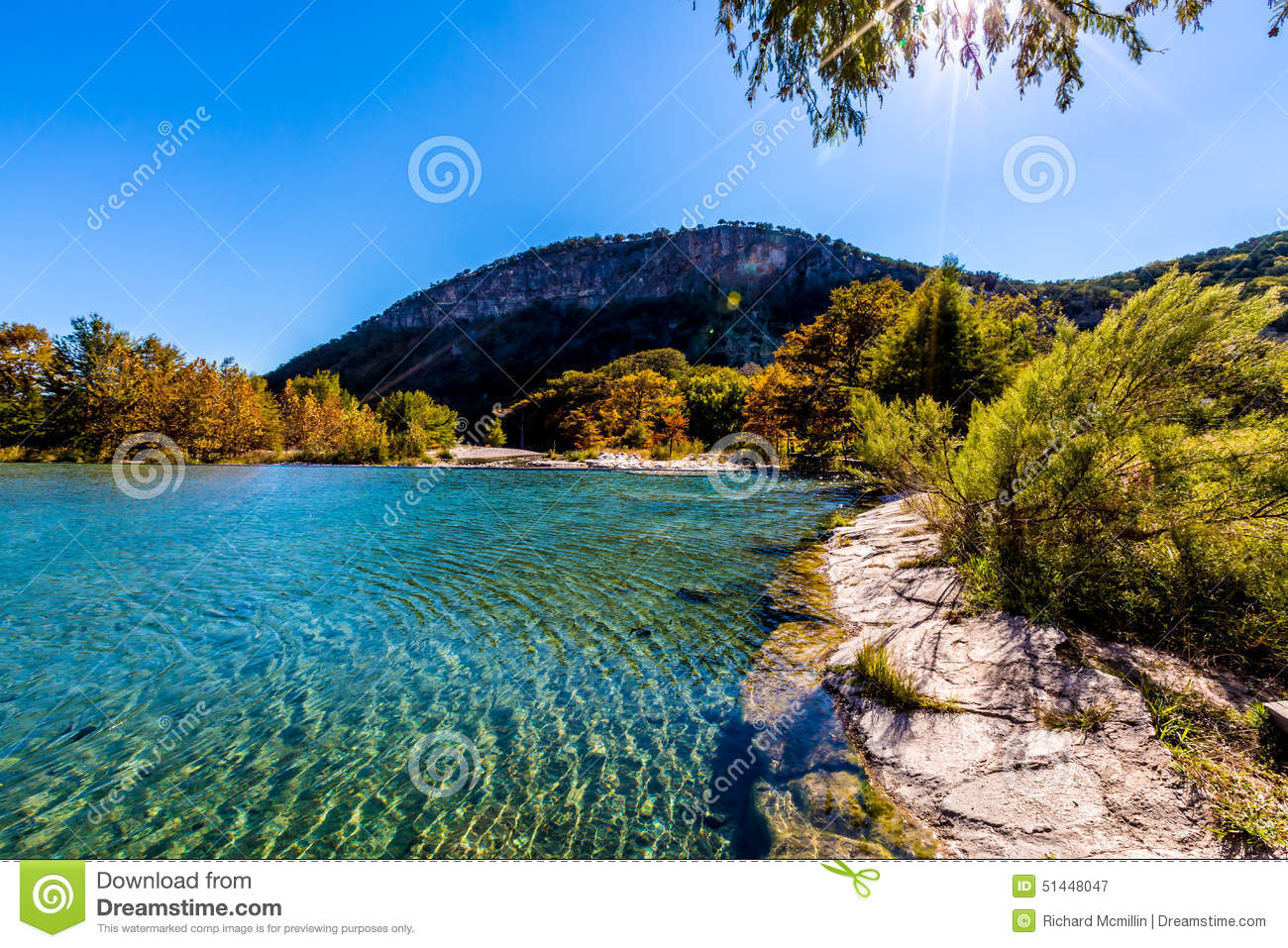 Bright beautiful fall foliage on the crystal clear frio for Crystal fall