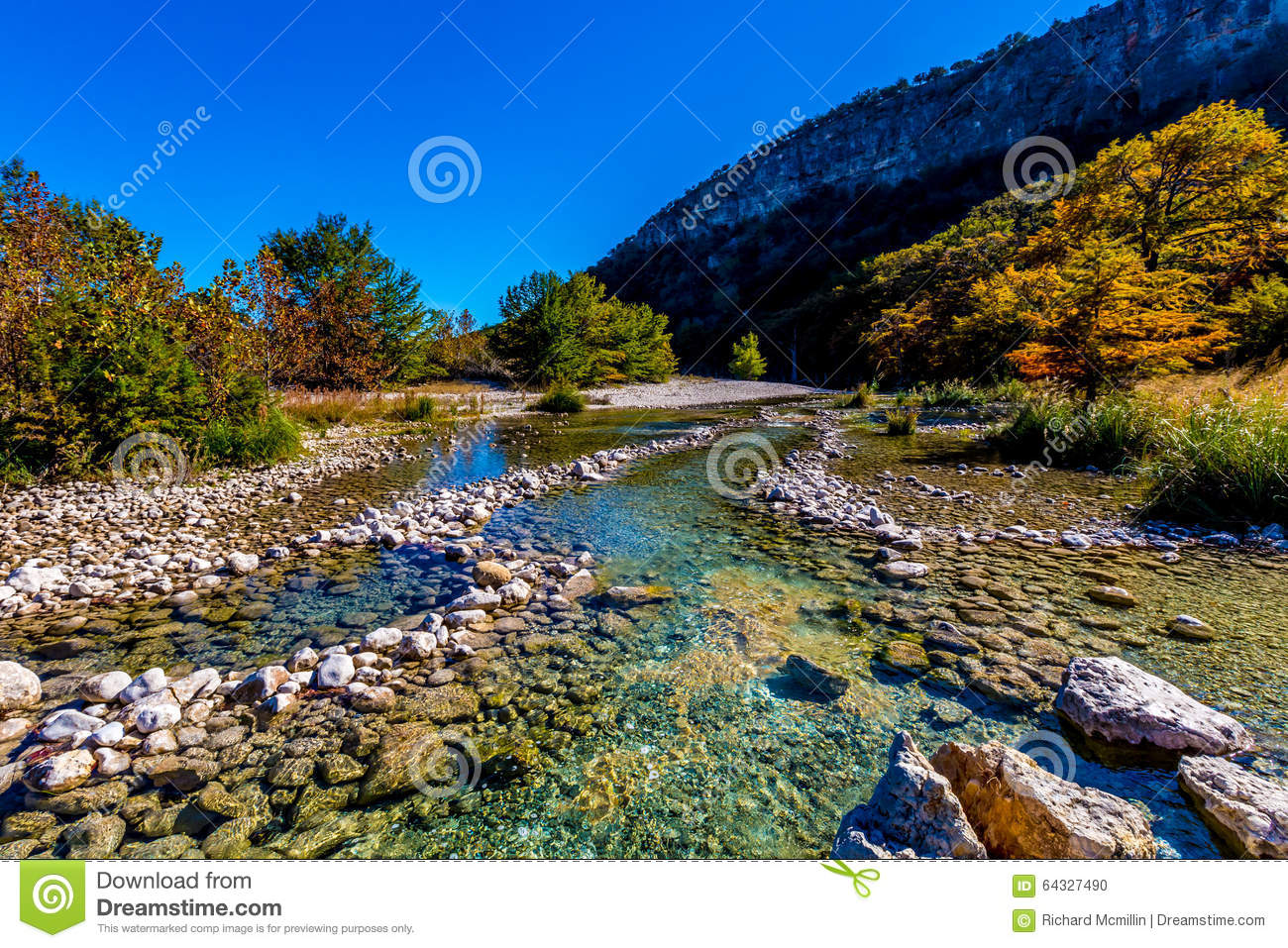 bright beautiful fall foliage on the crystal clear frio river in texas stock photo image of. Black Bedroom Furniture Sets. Home Design Ideas