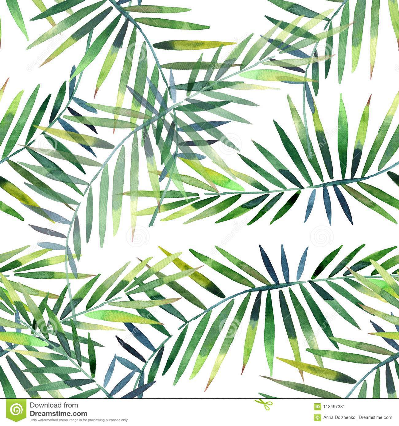 Bright beautiful green herbal tropical wonderful hawaii floral summer pattern of a tropic palm and monstera leaves watercolor hand