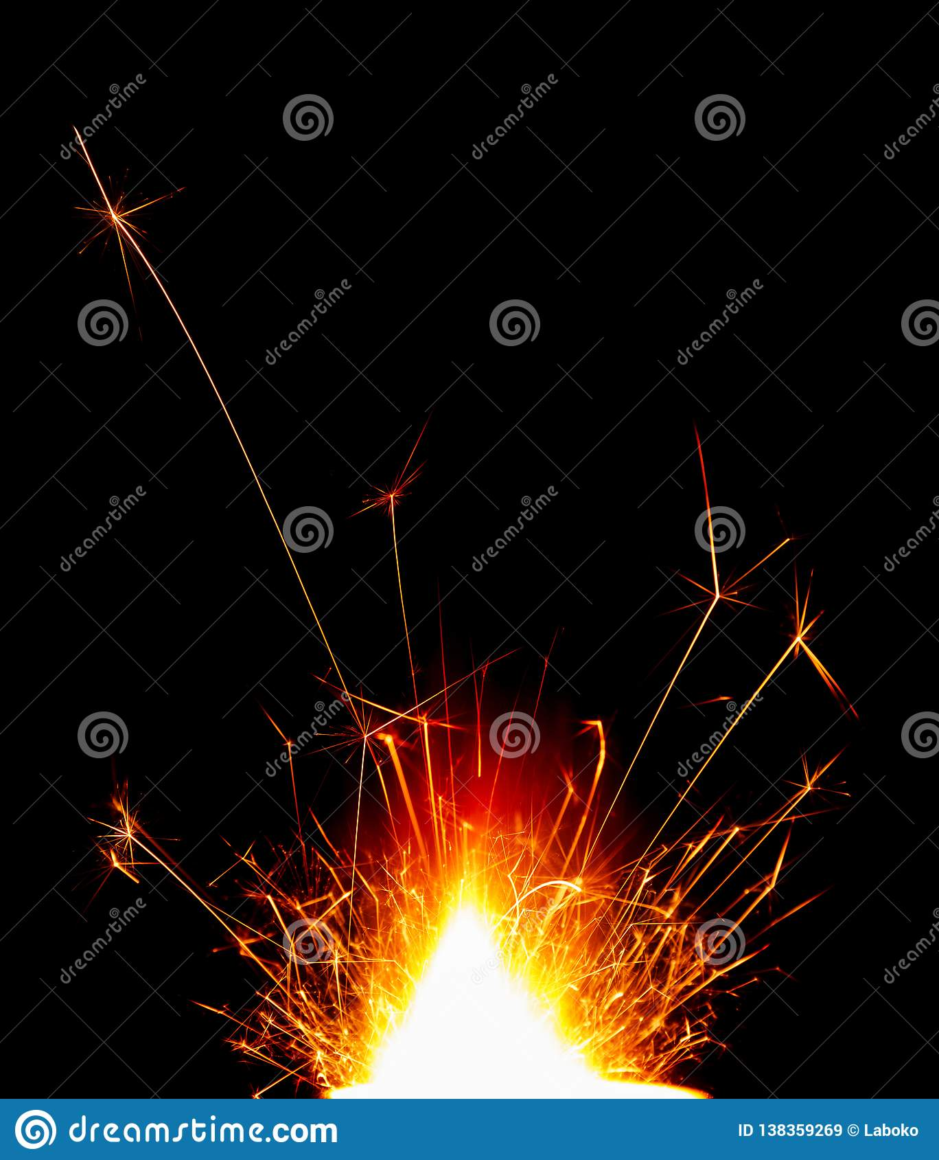 Bright beautiful holiday Sparkler isolated on black