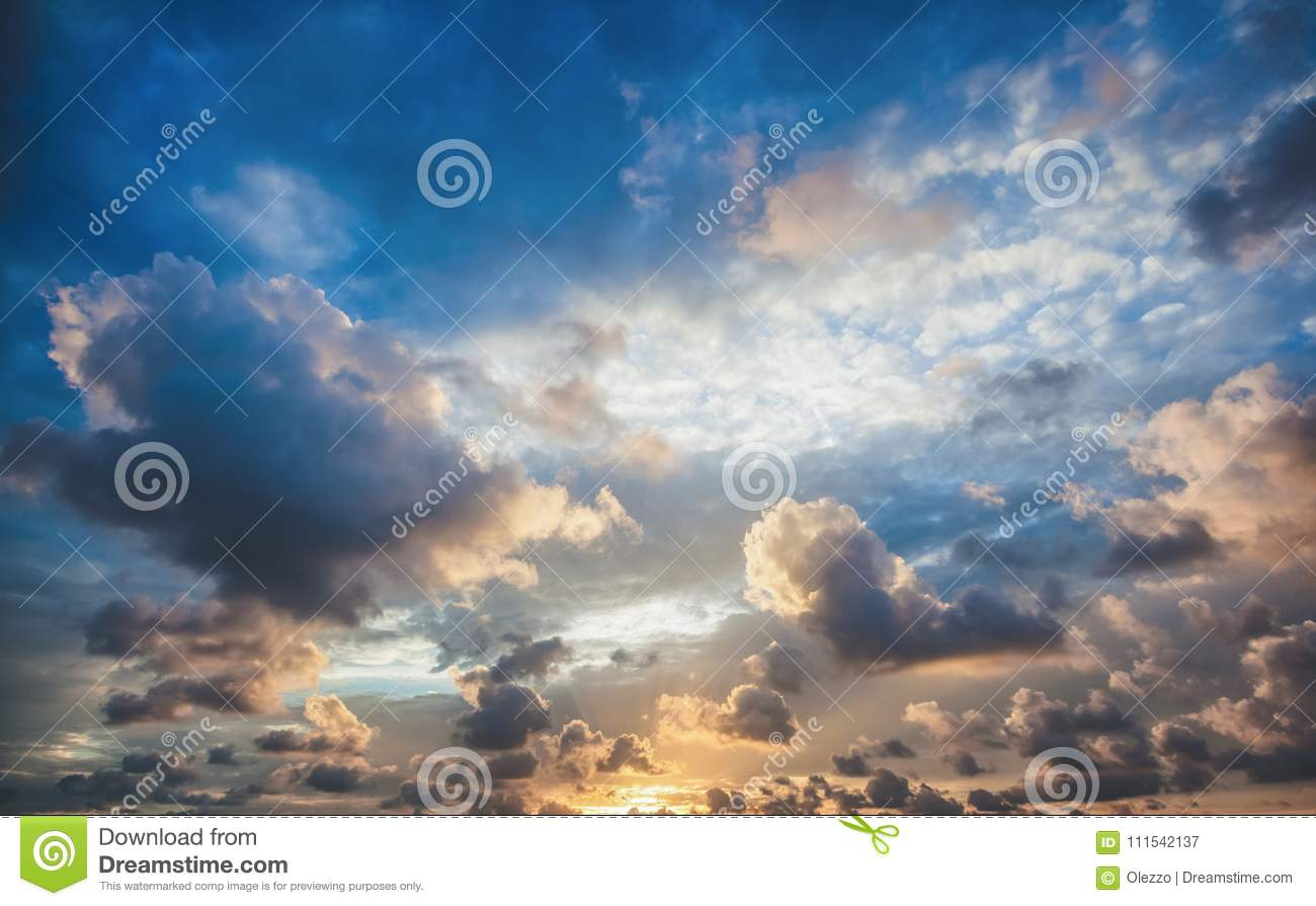 Bright beautiful sunset sky background, abstract nature