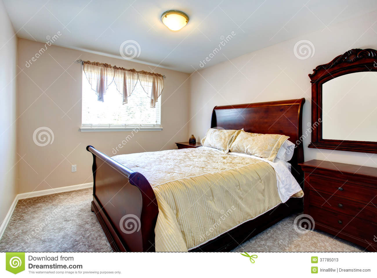 Bright Bedroom With Cherry Wood Furniture Stock Photos Bright House Bedroom  Furniture Bright Bedroom With Dark