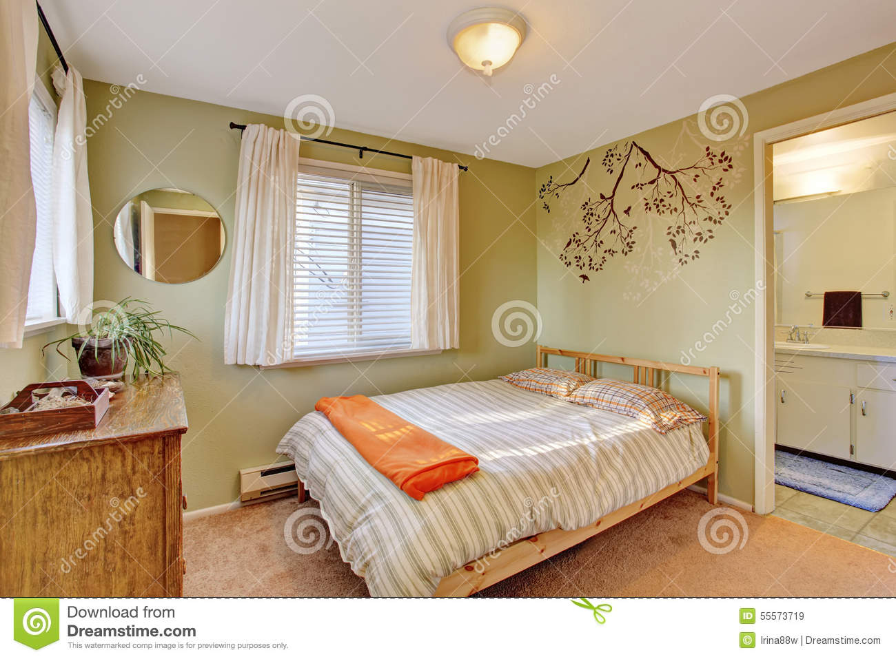 bright bedroom with green walls stock photo image 55573719