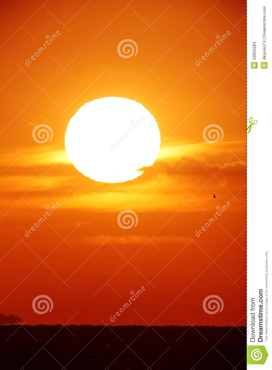 Bright big sun on the sky with yellow orange red gradation colors