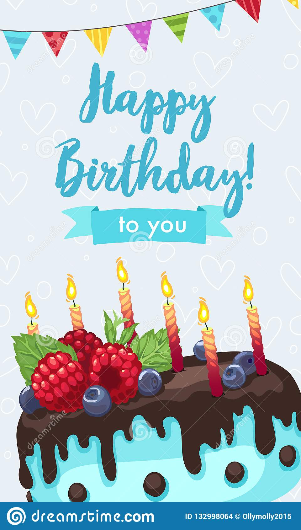 Bright Birthday Cakes Vector Illustration Gift Card Design Template Happy Greeting In Vertical Format