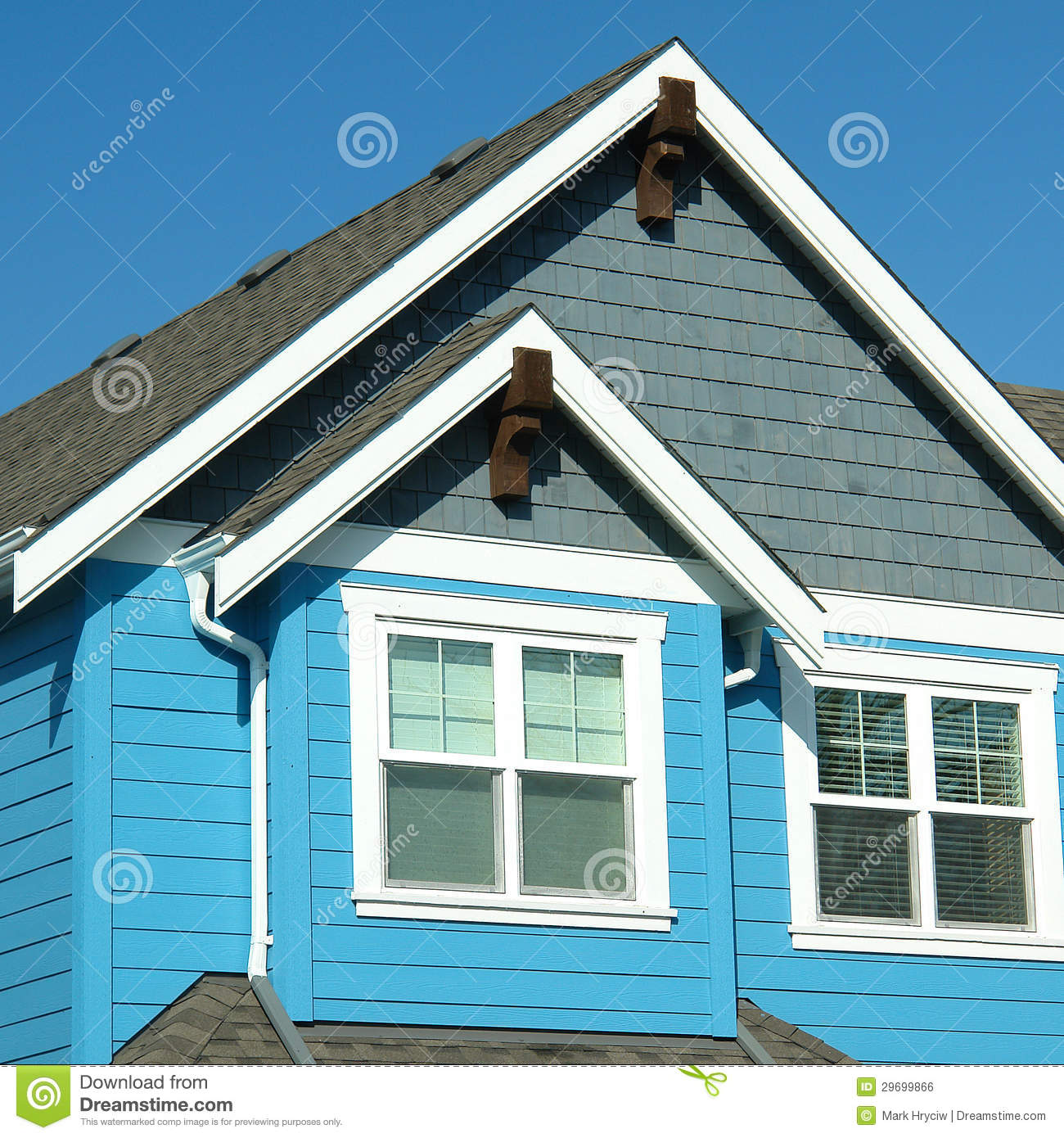 With Blue Siding Homes: Home House Blue Siding Roof Stock Photo