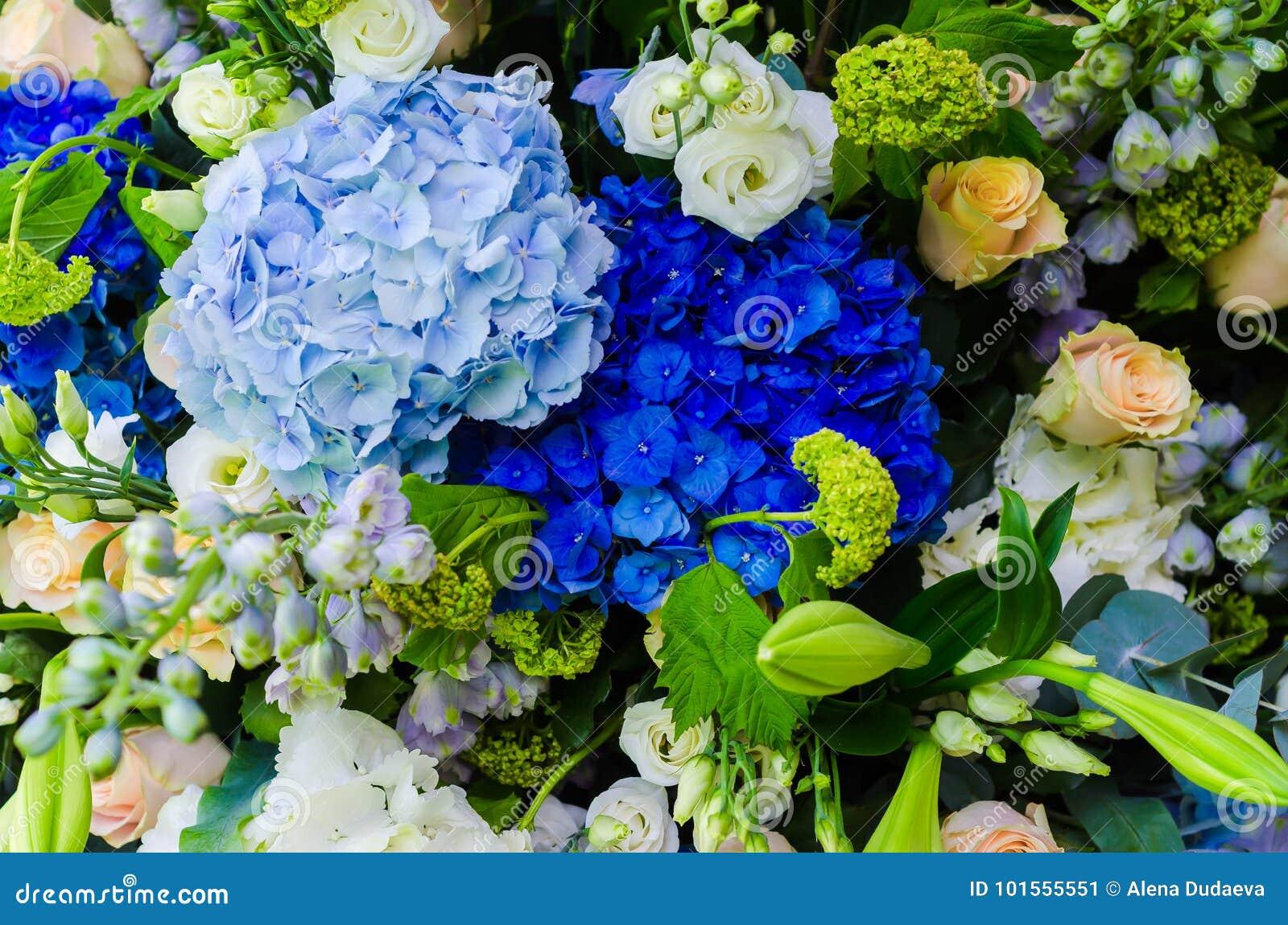 Bright Blue Hydrangea In A Beautiful Flower Arrangement Stock Image