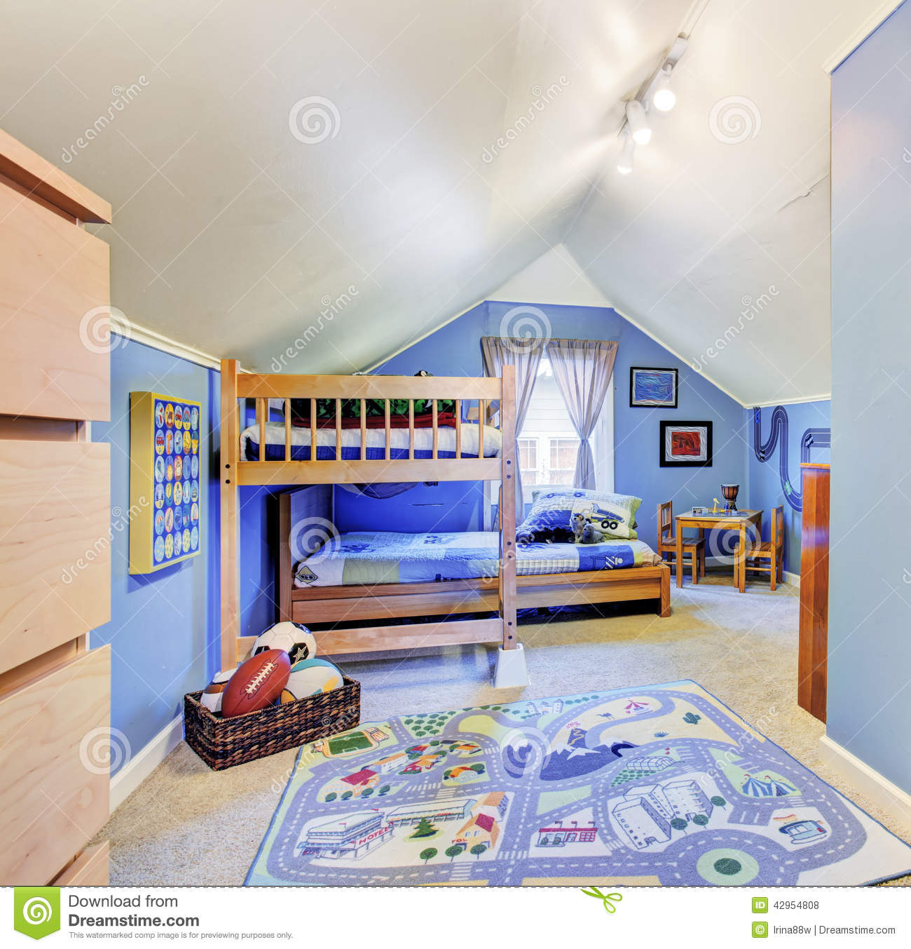 Bright Kids Room: Bright Blue Kids Room With Bunk Bed