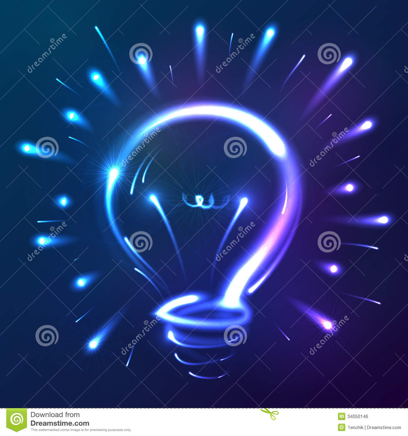 Bright Blue Neon Lights Abstract Bulb Stock Vector Image