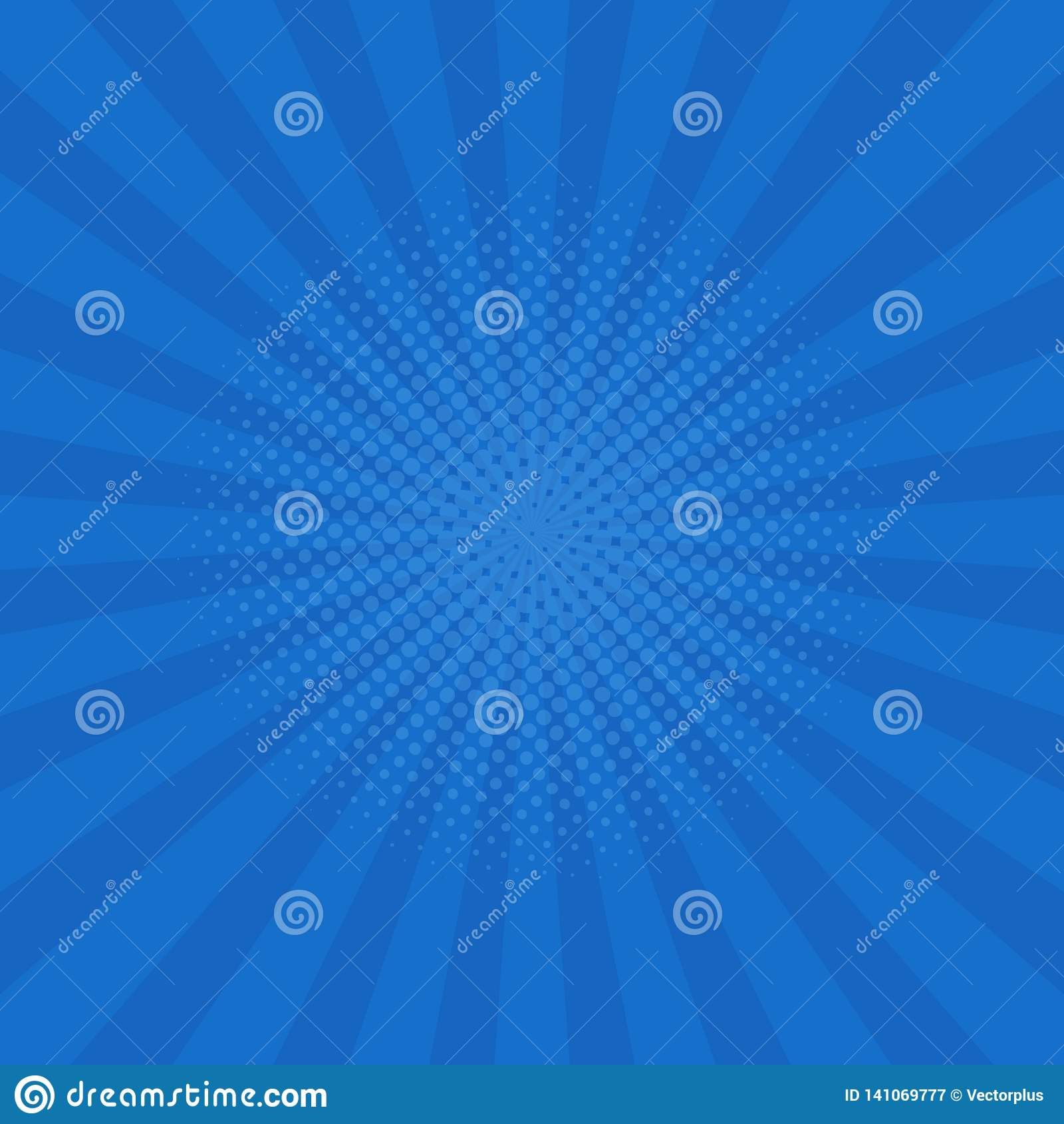 Bright blue rays background. Comics, pop art style. Vector