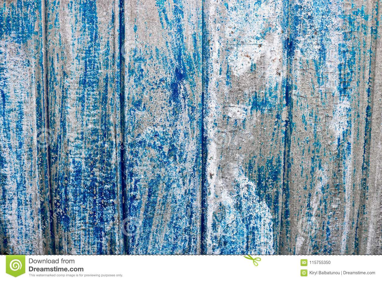 Bright blue saturated relief texture of a beautifully painted metal surface with vertical stripes and shabby erased paint