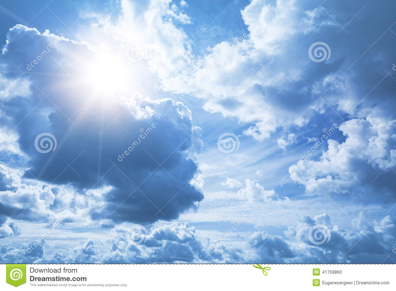 Bright blue sky background with white clouds and sun