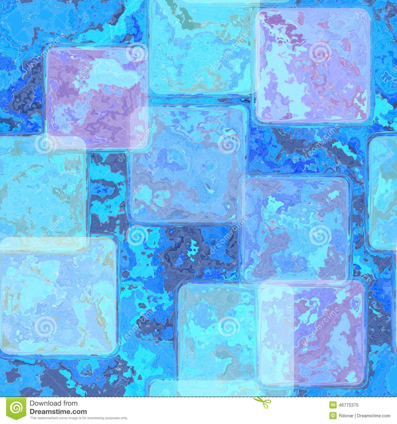 Bright Blue Stained Tile Background With Parchment Frame: bright blue tile