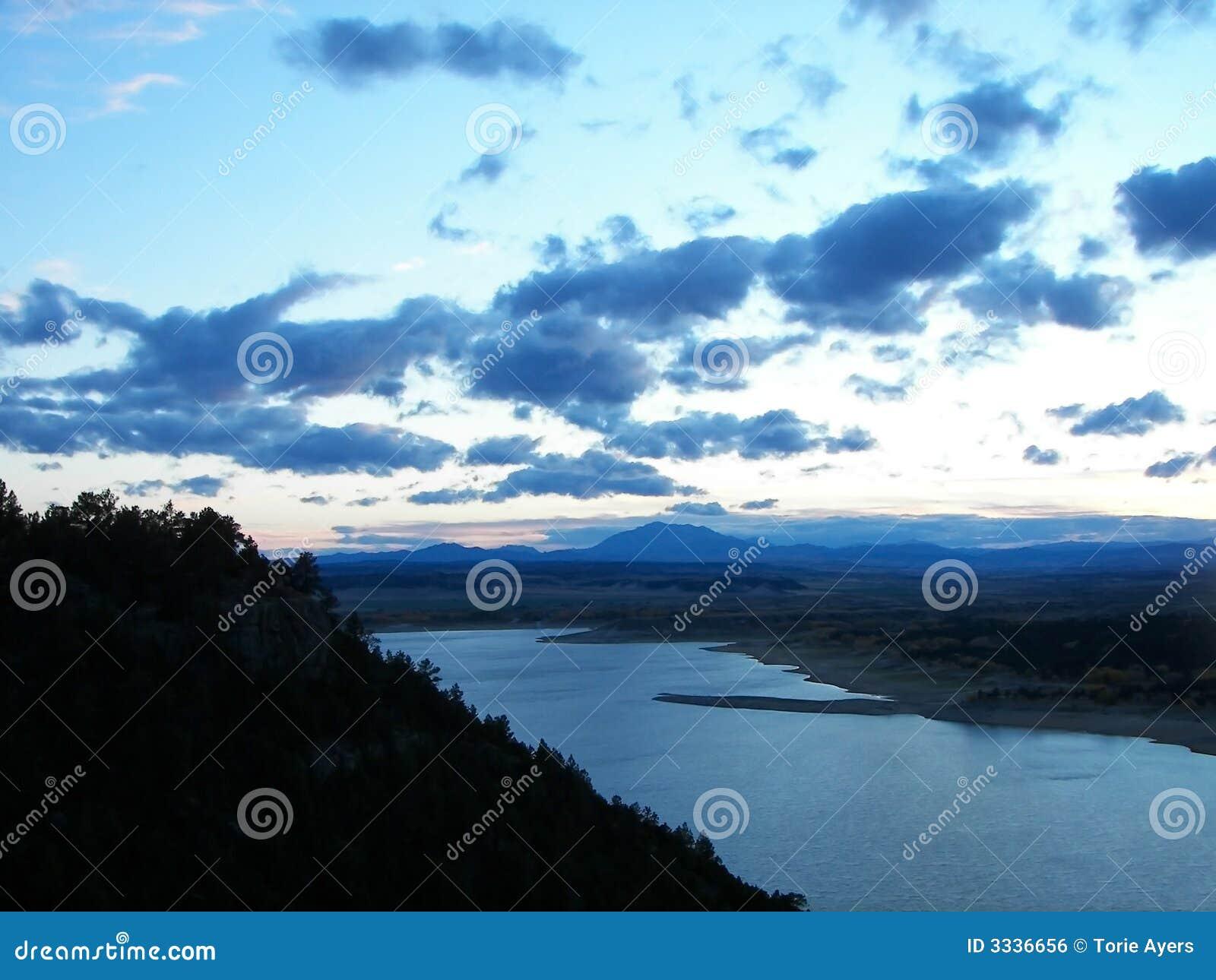 Bright blue sunset
