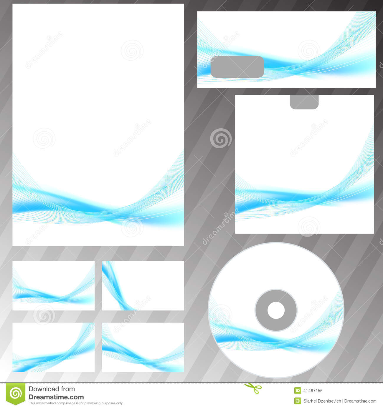 Bright blue swoosh abstract stationery set