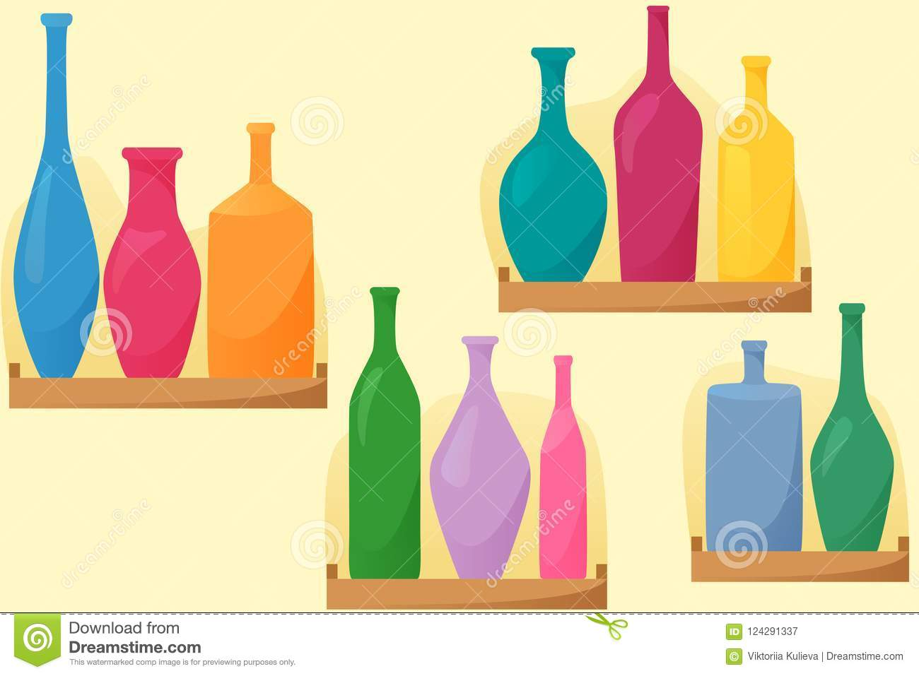 Bright bottles on shelfs, seamless pattern with bottles, flat style decoration, vector