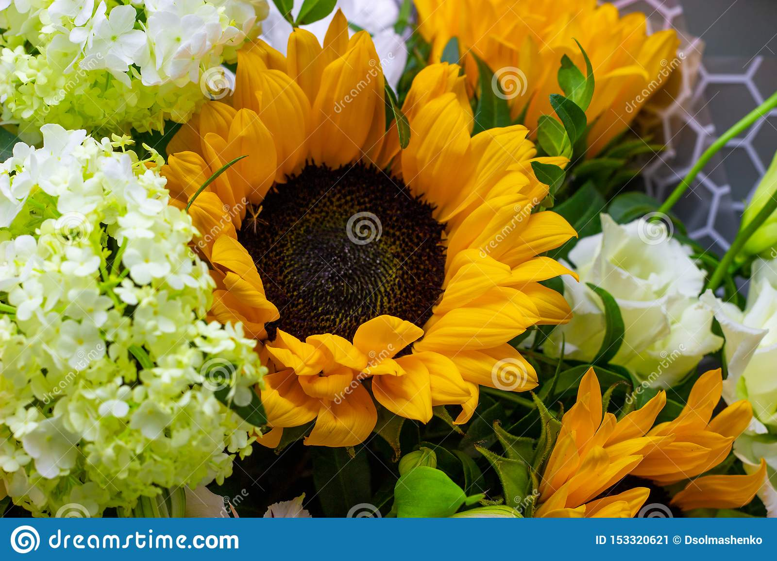 Bright bouquet with yellow sunflowers and rose, pink eustoma and green viburnum floral background