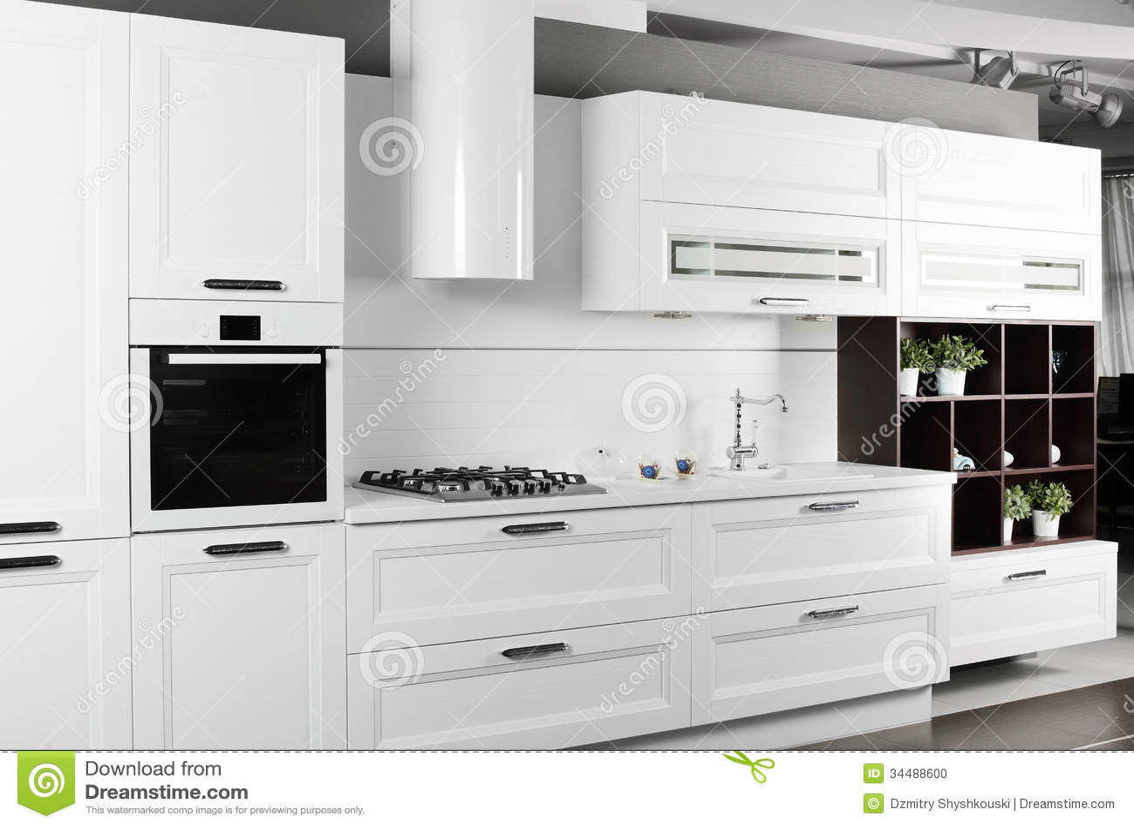 Bright Brand New European Kitchen Stock Photo   Image Of Indoors, Kitchen:  34488600