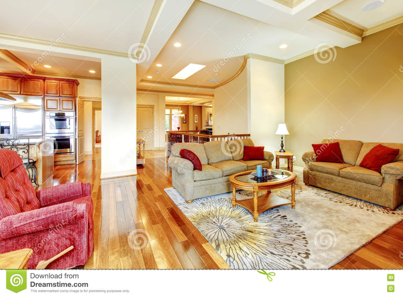 Brown and red living room - Bright Brown And Red Living Room Interior With Hardwood Floor N