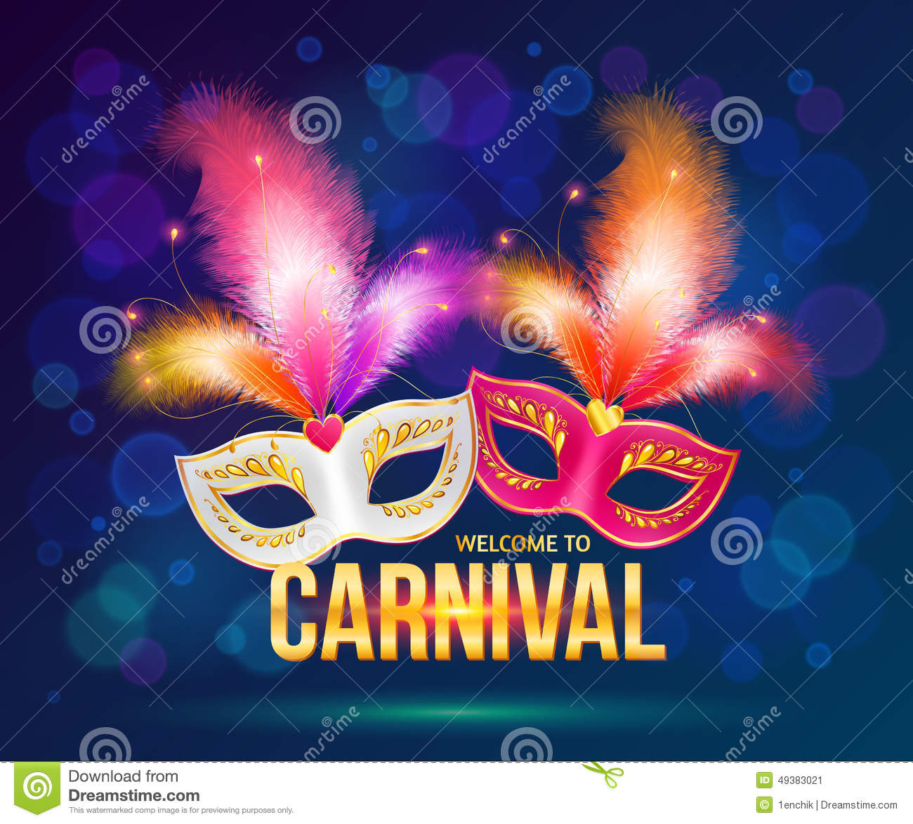 Bright Carnival Masks On Dark Blue Background Stock Vector - Image ...