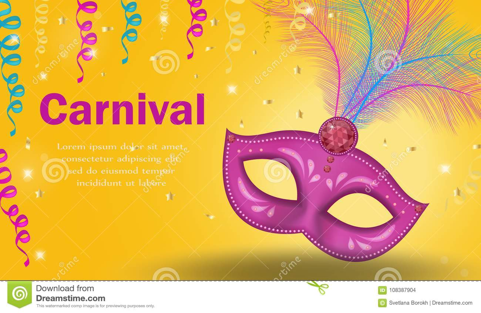 bright carnival poster invitation greeting card masquerade